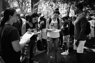 U-M students registering to vote.