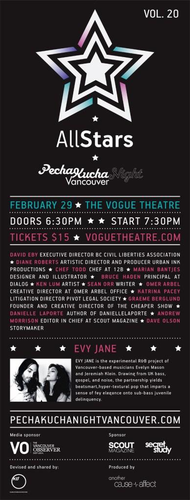 Pecha Kucha Night Vancouver, All Star Edition Poster