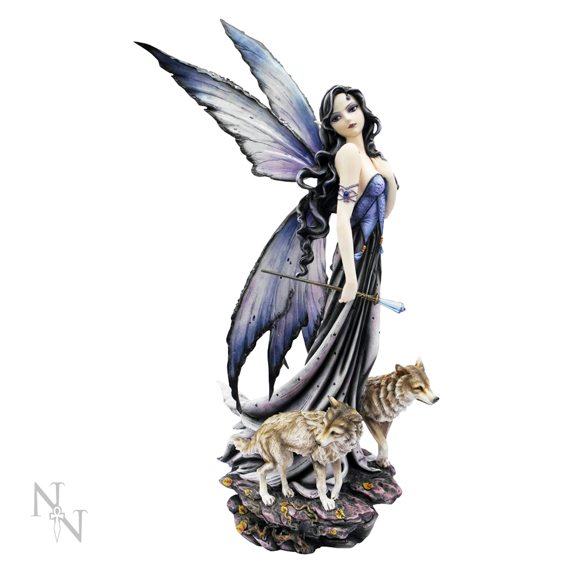 Large Fairies Fairy Lina And Wolves Large 60cm Ornament Figurine
