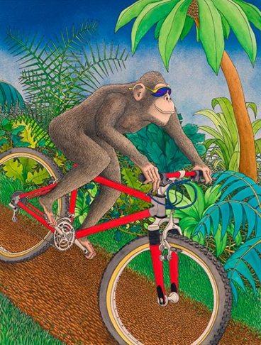 Junglebike watercolor & ink poster