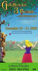 """Goldilocks, 3 Bears, and the some!"" poster design - Santa Barbara Panto"