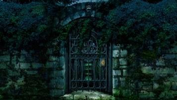 Locked Secret Garden Gate Scenery
