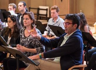 Stephano de Peppo (Gianni Schicchi) right, and cast rehearse for Opera Santa Barbara 3/30/16 Weinman Hall, MAW