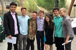Ojai Music Festival music director Peter Sellars with LA Phil Composer Fellows 6/12/16 Libbey Bowl