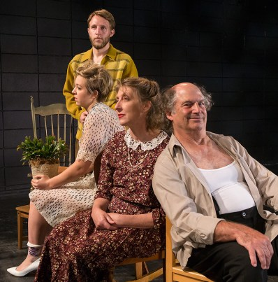 "Paige Tautz, Chris Wagstaffe, Victoria Finlayson & Stan Hoffman - publicity photo for Lit Moon Theater Company's ""The Glass Menagerie"" 8/20/16 Porter Theater, Westmont College"