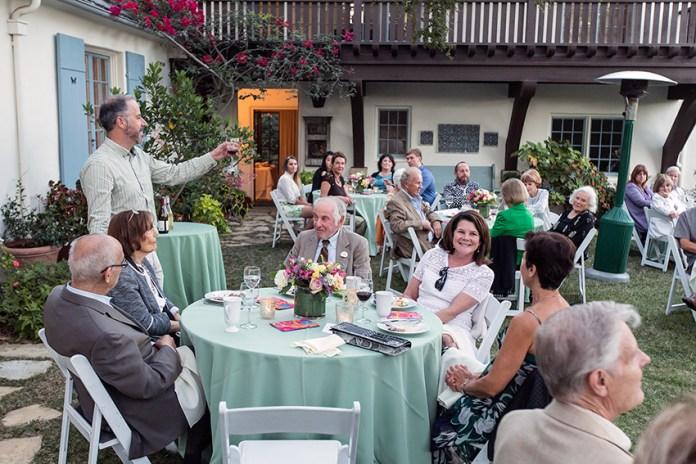 Adrian Spence toasts Lillian Lovelace, Kristin Lee and Bernard Gondos 8/17/16 Lovelace residence