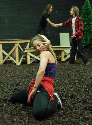 Shannon Gillen works with Vim Vigor dancers Laja Field (foreground) and Rebecca Diab 9/5/16 Lobero Theatre