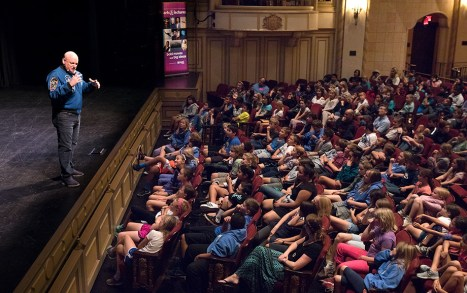 Capt. Scott Kelly giving a talk for 5th and 6th grade students from the Santa Barbara area - UCSB arts & Lectures 11/14/16 Granada Theatre