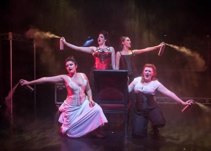 Sydney Wesson (Alice Russell), Amy Soriano-Palagi (Emma Borden), Katie Moya (Lizzie Borden), and Samantha Corbett (Bridget Sullivan 11/1/16 Center Stage Theatre