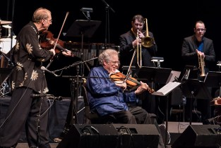 "Michael Alpert, Itzhak Perlman, Mark Hamilton andMark Berney. ""In the Fiddler's House"" 20th Anniversary concert- UCSB Arts & Lectures 1/23/17 The GranadaTheatre"