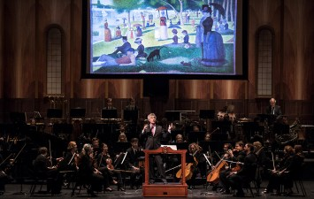 David Lockington enlightens studetns at the Santa Barbara Symphony Orchestra Concert for Young People 1/27/17 the Granada Theatre