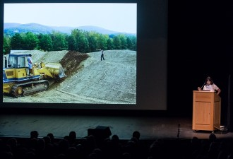 Maya Lin directs her bulldozer operator to make it 6 feet taller - UCSB Arts & Lectures 1/30/17 Campbell Hall