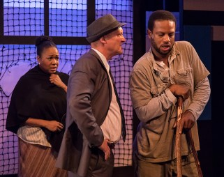 "Constance Jewell Lopez (Strawberry Woman), Brian Harwell (Detective) and Elijah Rock (Porgy) in Ensemble Theatre Company's ""Porgy and Bess"" 2/8/17 the New Vic Theatre"