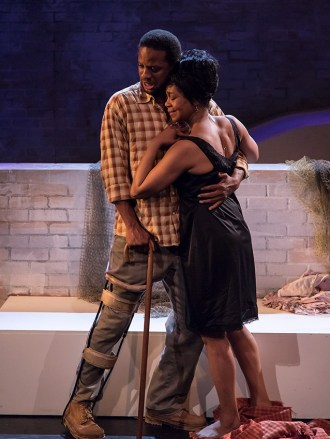 """Elijah Rock (Porgy) and Karole Foreman (Bess) in Ensemble Theatre Company's """"Porgy and Bess"""" 2/8/17 the New Vic Theatre"""