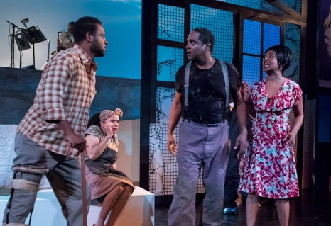 "Elijah Rock (Porgy), Peggy Blow (Mariah) , K.B. Soloman (Crown) and Karole Foreman (Bess) in Ensemble Theatre Company's ""Porgy and Bess"" 2/8/17 the New Vic Theatre"