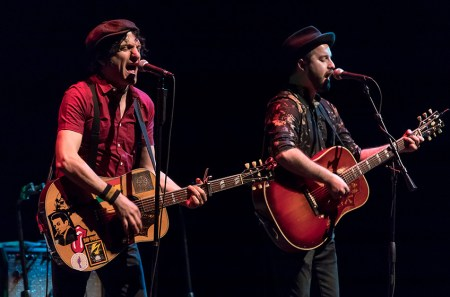 Jesse Malin and bandmate at Sings Like Hell 2/25/17 The Lobero Theatre