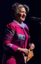 Peggie Jones shows off her thrift store finery - Sings Like Hell 2/25/17 The Lobero Theatre