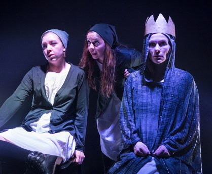 """Page Tautz, Marie Ponce and Nina Sallinen - Lit Moon Theatre Company's """"Richard III"""" 3/7/17 Westmont College Black Box Theater"""