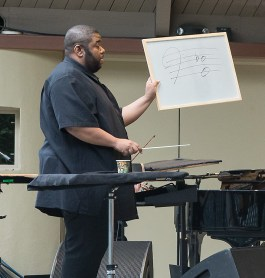 "Tyshan Sorey & ICE rehearse ""Autoschediasms for Creative Chamber Orchestra"" - the Ojai Music Festival 6/10/17 Libbey Bowl"