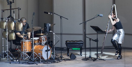 Claire Chase, contrabass flute and Tyshawn Sorey, drums - Ojai Music Festival 6/9/17 Libbey Bowl
