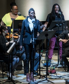 """""""Yet Unheard"""" performed by solo soprano Helga Davis, contralto Gwendolyn Brown and Tenor Julian Otis and ICE, conducted by Steven Schick - Ojai Music festival 6/10/17 Libbey Bowl"""
