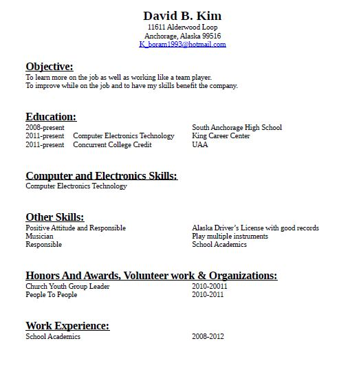sample resume for those without work experience
