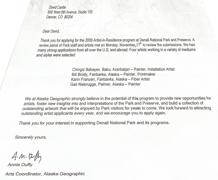 Denali Residency The Rejection Letter That Doesn\u0027t\u2026 \u2013 David Castle Art