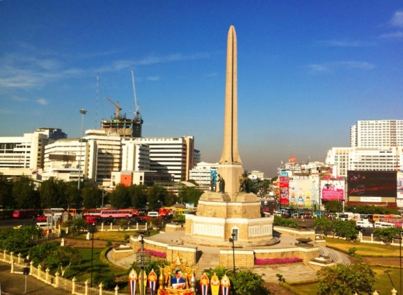 Victory Monument spotted from the train. Built in 1941 to celebrate Thailand's victory against France in the Franco-Thai War.