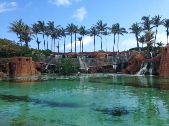 Rope bridge with large black hammerhead sharks swimming below.