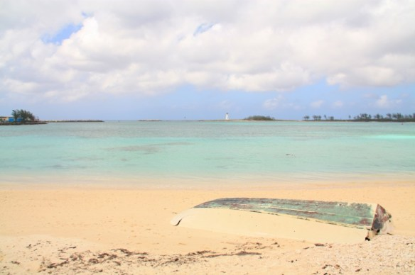 The beach near Arawack Cay was deserted, clean, and had a great view of the Paradise Island Lighthouse (1817).