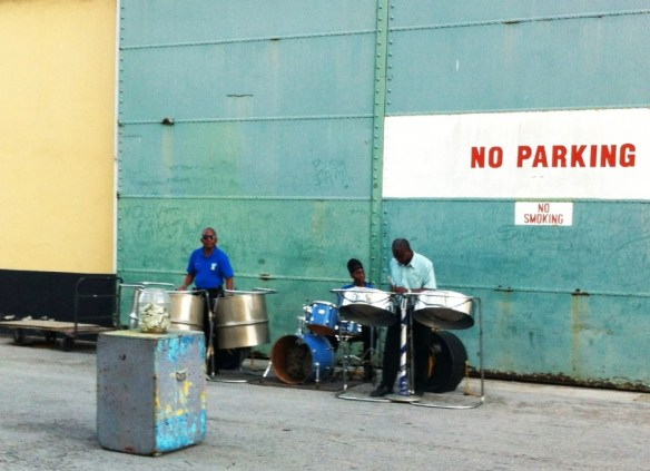 A steel drum band sending off the visitors!