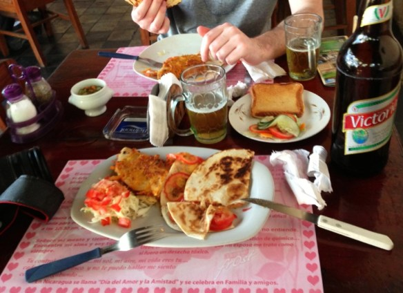 We got a typical Nica lunch with a large domestic Victoria beer to cool us down.