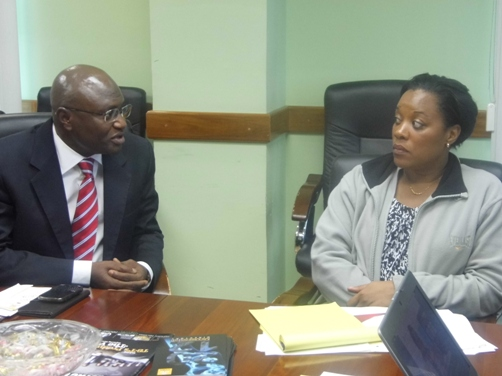 Mr Wale Sonaike, Deputy Managing Director (AutoReg Franchise) making a point to Ms Penco. Photo courtesy David F Roberts