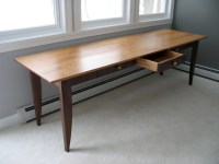 Custom Writing Desk with Drawers in walnut and cherry