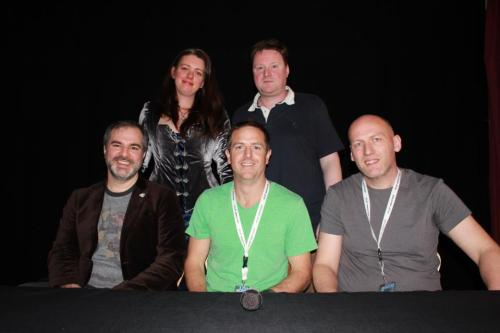 The It's the End! panel with (l-r) Peter Brett, Emma Newman, Hugh Howey, Gareth Powell and me
