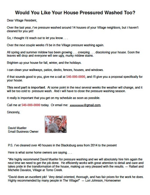 Sales Letter Written for a Small Business - Direct Response Copywriting