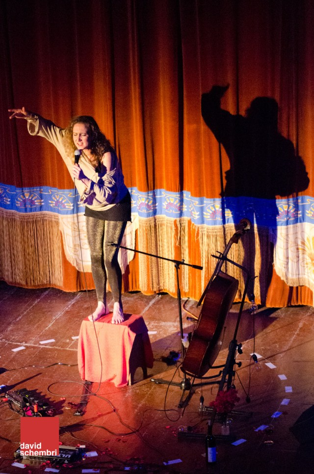 Anna-Helena McLean performing in Moon Fool's Titania at the Teatru Salesjan in February 2013.