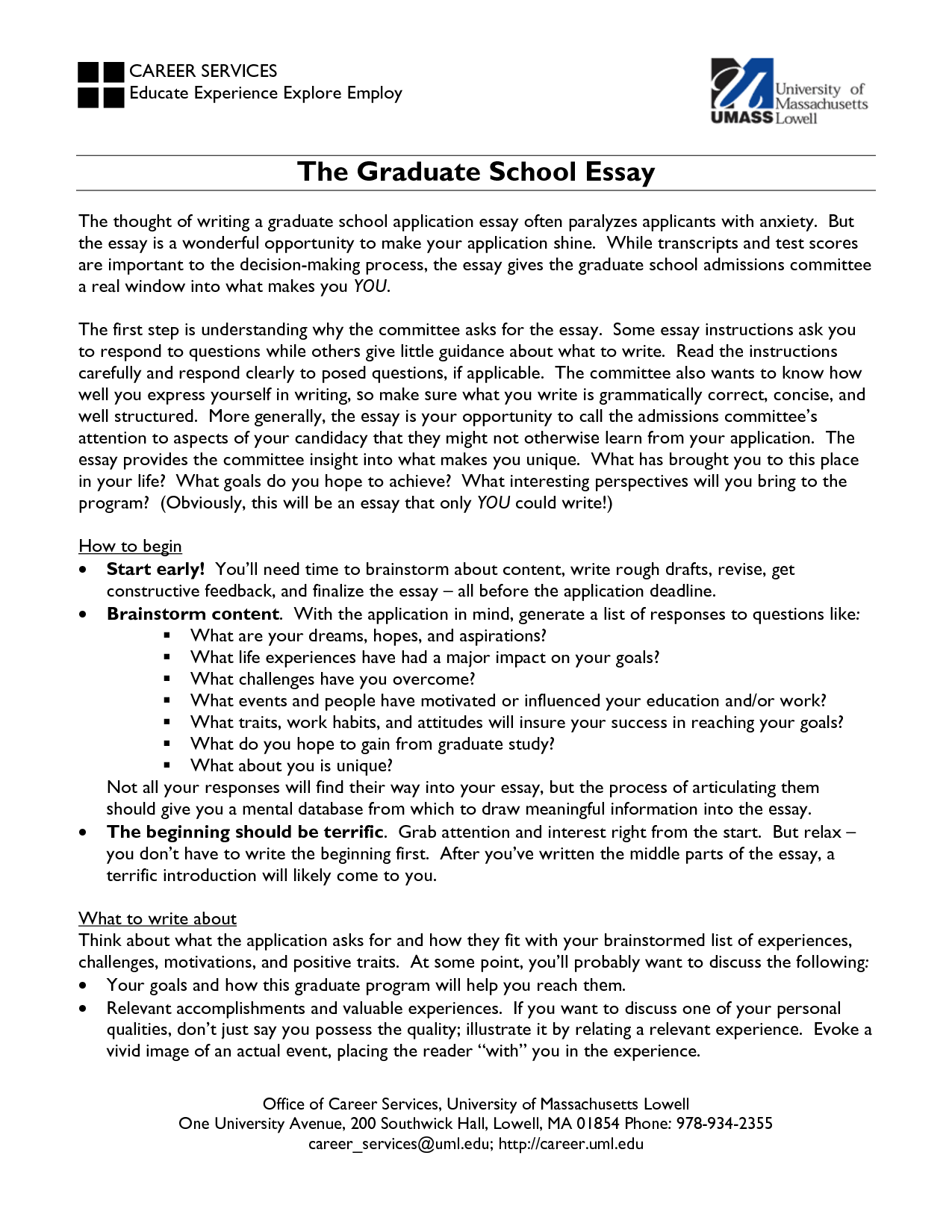 Writing admissions essay graduate school education