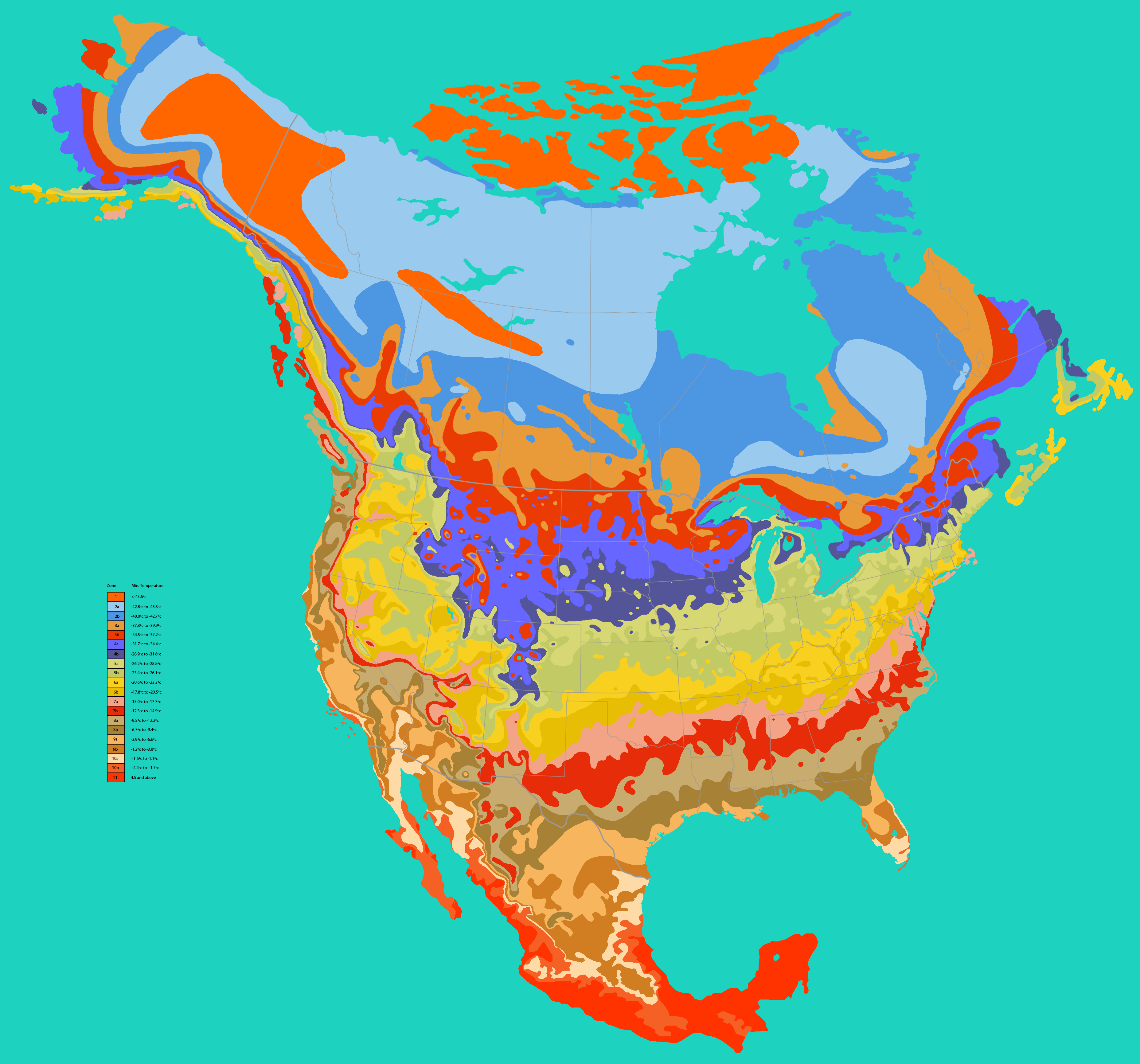 Us Zone Map - Map of us growing zones