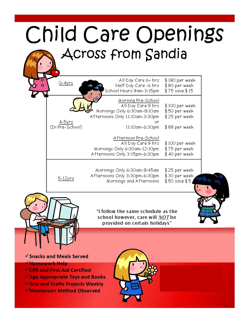 daycare flyers samples template daycare flyers samples