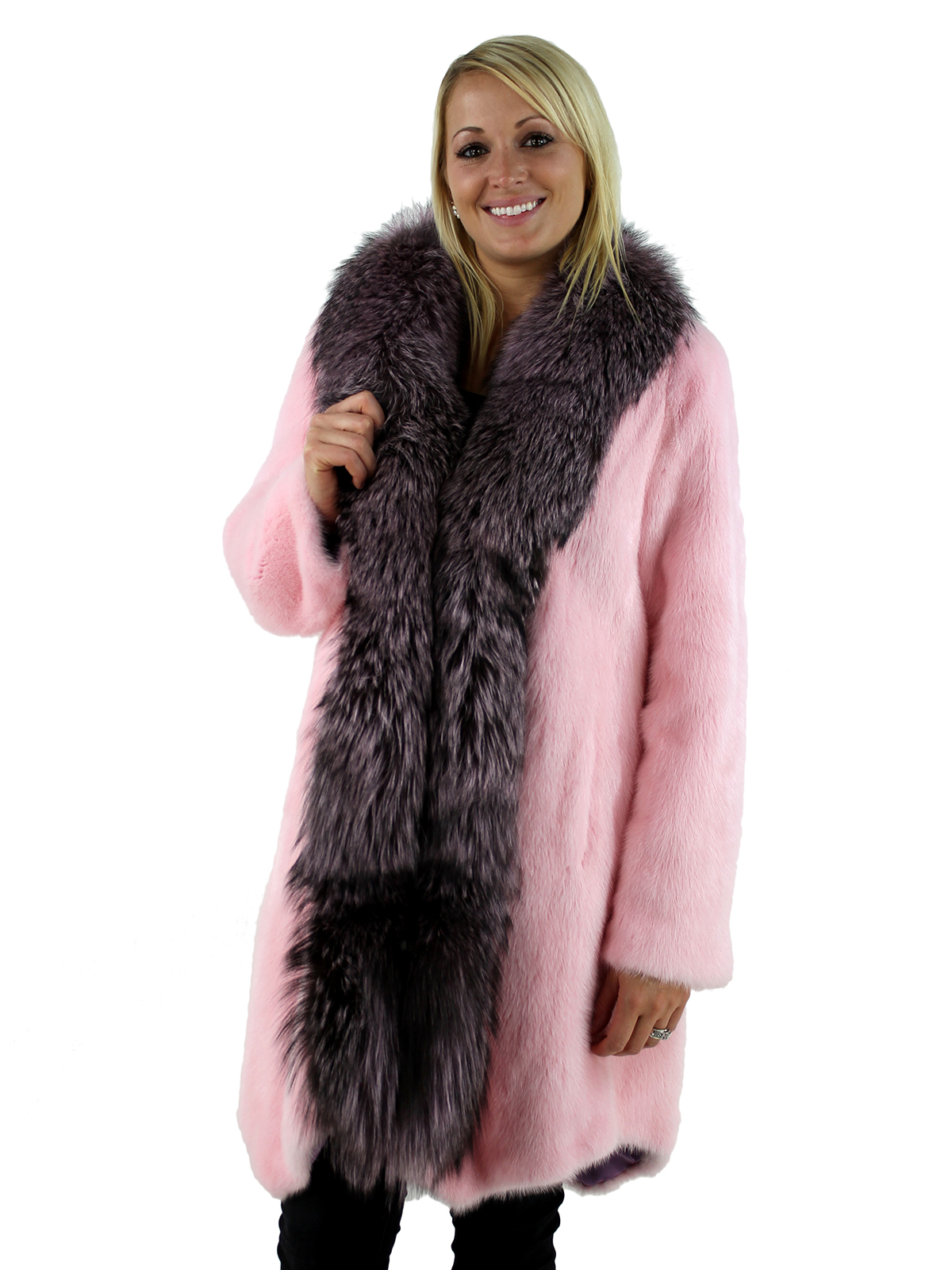 Fur Womens Pink Mink Fur Stroller With Pink Dyed Silver Fox Trim Women S Large Day Furs