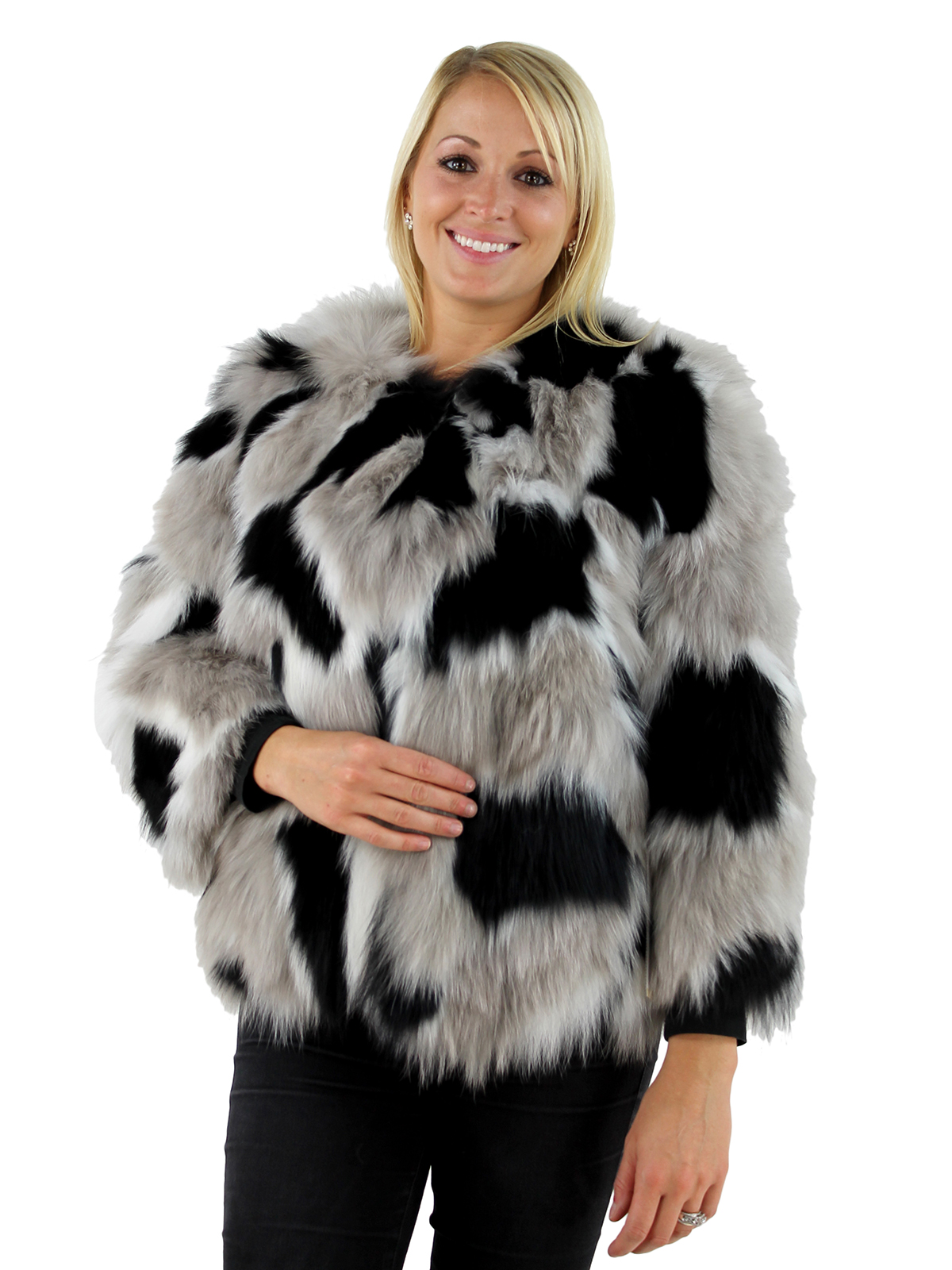 Fur Womens Black Tan And White Fox Fur Jacket Women S Medium Day Furs