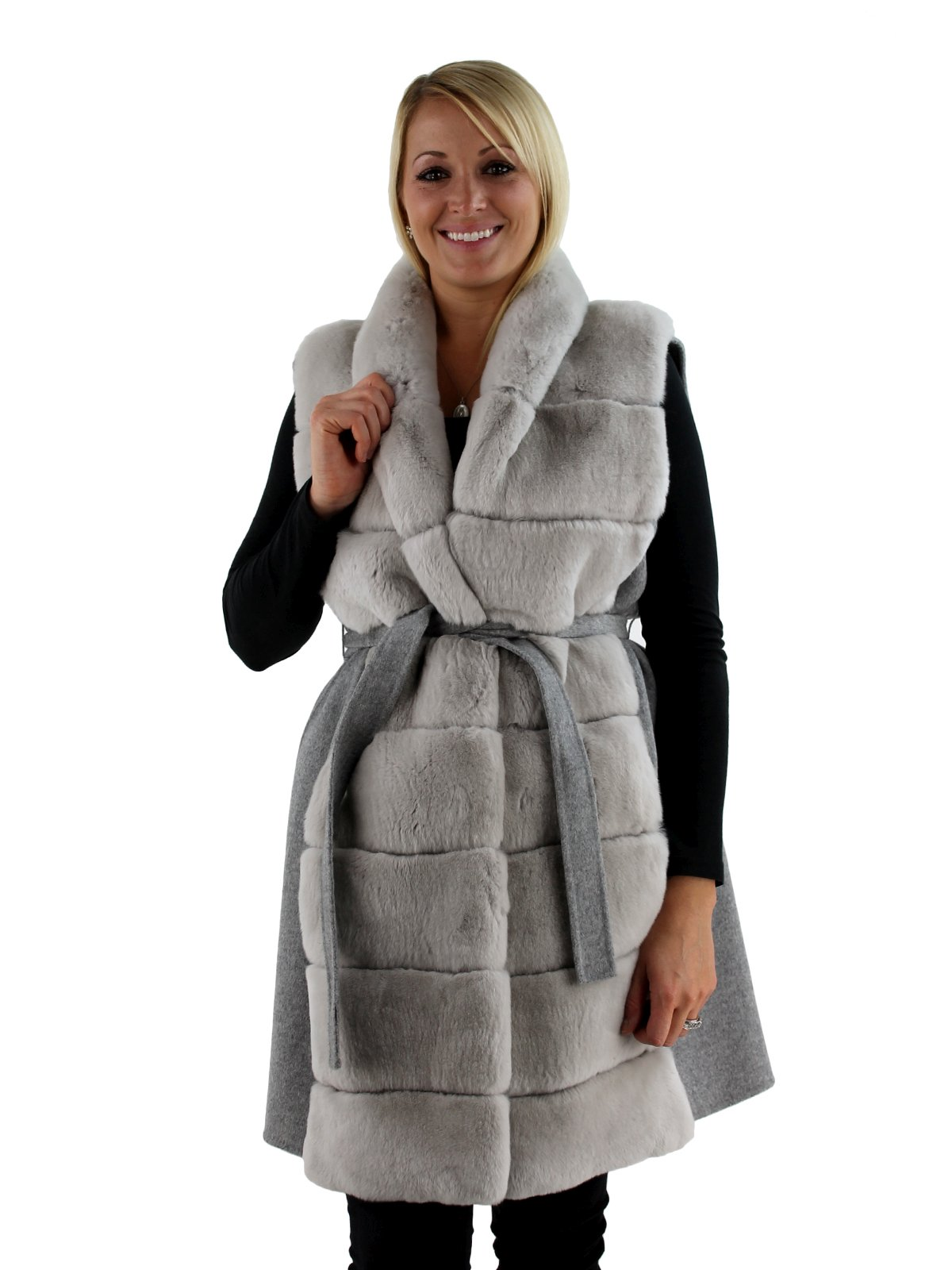 Fur Womens Grey Rex Rabbit Fur Vest With Wool Back By Gorski Women S Large Day Furs