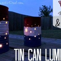 Red White and Blue Tin Can Luminaries