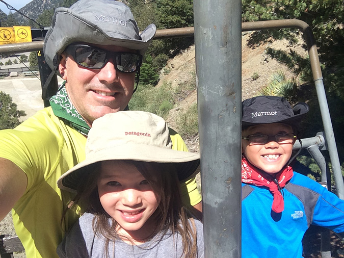 Mt Baldy ski lift family selfie