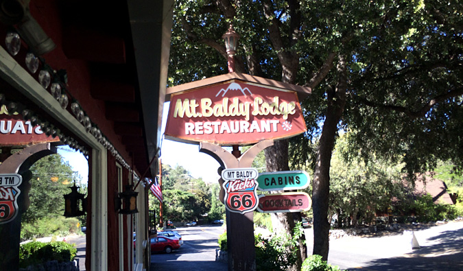 Stop for breakfast at the Mt Baldy Lodge across the street from the Mt Baldy visitor center. It'll be your last wifi for the day.