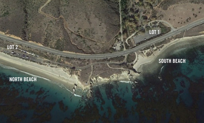 Satellite view of Leo Carrillo Beach. I recommend parking in Lot 1 and setting up on the southern beach. If you have dogs, go to the northern beach.