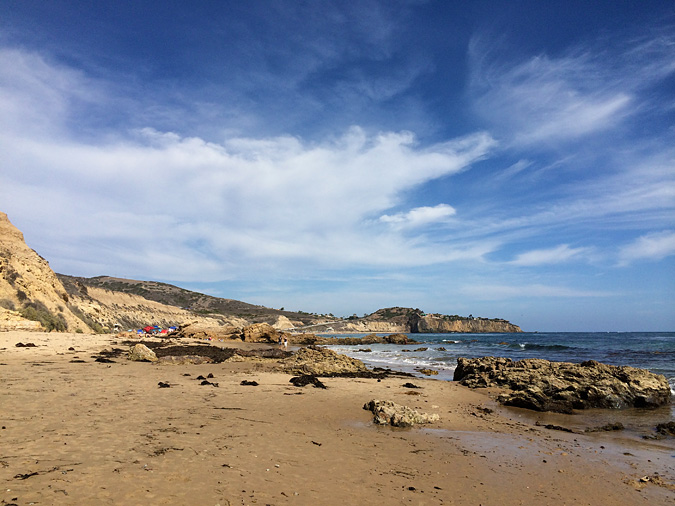 Crystal Cove State Park beach. Looking south from the tide pools toward the cliffs.