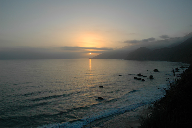 View of the sunset from Kirk Creek Campground, Big Sur