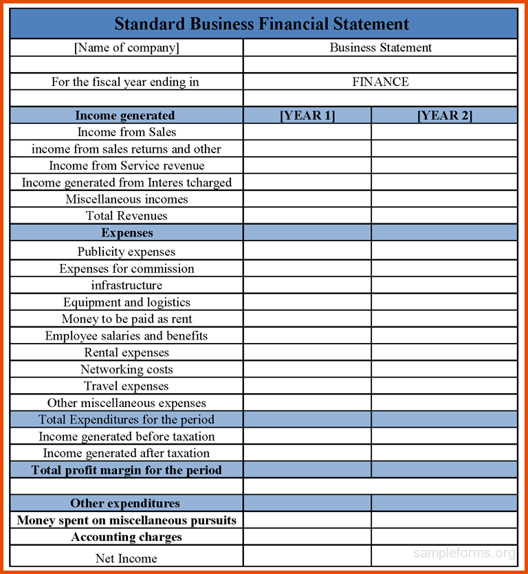 blank business financial statement form